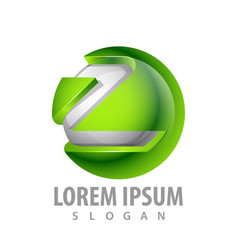 logo concept design green sphere letter z symbol vector image