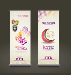 Luxury and elegant roll up banner set template vector
