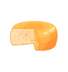 Maasdam cheese wheel dairy product cartoon vector