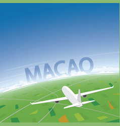 Macao flight destination vector