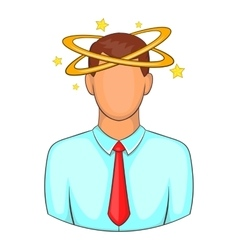 Man with dizziness icon cartoon style vector