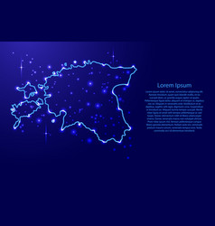 Map estonia from the contours network blue vector