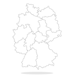 Map of Germany with regions vector