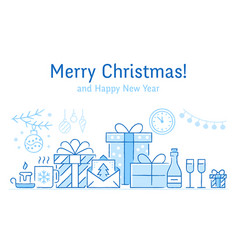 merry christmas banner with flat line icons new vector image