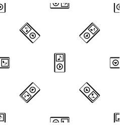 Mini mp3 portable player pattern seamless black vector