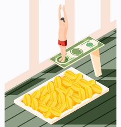 Money diving isometric concept vector