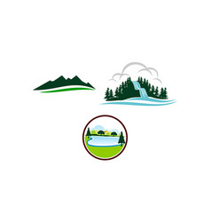 mountain lake template set vector image