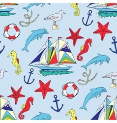 Nautical seamless pattern with ships vector