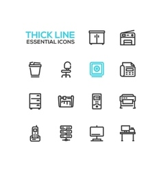 Office Supplies - Thick Single Line Icons Set vector