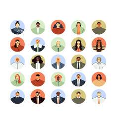 office workers avatars round business men vector image