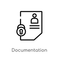 Outline documentation icon isolated black simple vector