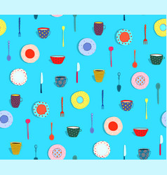 Pattern silverware and dishes plates background vector