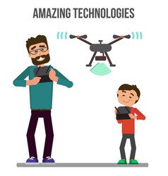 People controlling drone vector