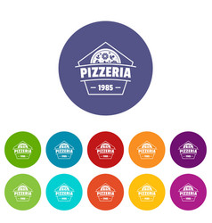 pizza icons set color vector image