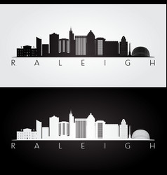 Raleigh usa skyline and landmarks silhouette vector