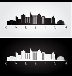 raleigh usa skyline and landmarks silhouette vector image