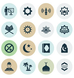 Ramadan icons set with holy book celebration vector