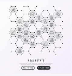 Real estate concept in honeycombs vector
