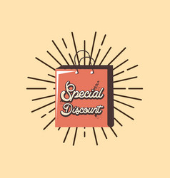 retro shopping bag special discount sunburst vector image