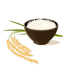 Rice plant and bowl full of rice vector