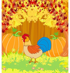 rooster on wooden background with leaves vector image