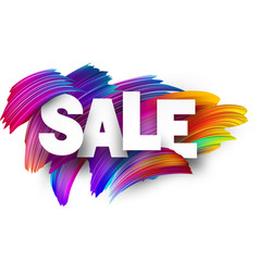sale paper poster with colorful brush strokes vector image