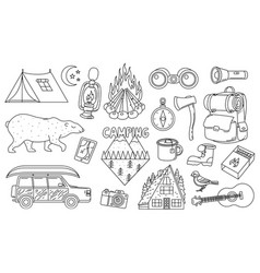 set cute camping elements stickers doodle vector image