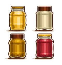 Set glass different jars vector