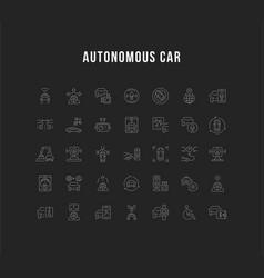 Set line icons autonomous car vector