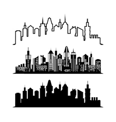 Set of skyscraper sketches City architect design vector