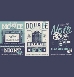 set three movie poster flyer or banner vector image