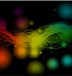 Shiny colorful lines on black background vector image
