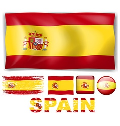 Spain flag in different designs and wording vector image