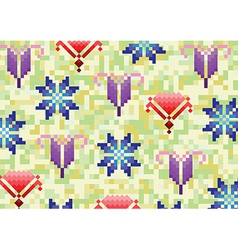 spring flowers on a green background in pixels vector image