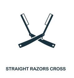 straight razors cross icon flat style icon design vector image