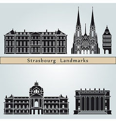strasbourg landmarks and monuments vector image