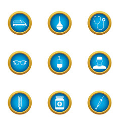 Supply of medicines icons set flat style vector
