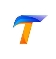 T letter blue and Orange logo design Fast speed vector image
