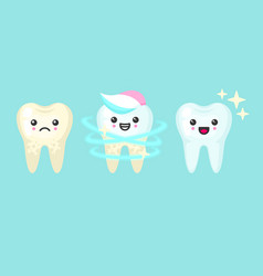 Tooth whitening and cleaning stomatology concept vector