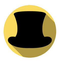 top hat sign flat black icon with flat vector image