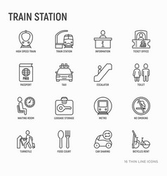 Train station thin line icons set vector