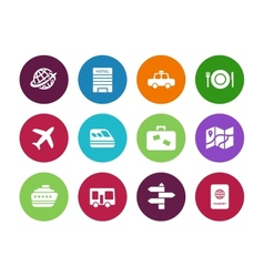 Travel circle icons on white background vector image