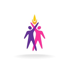 Two people logo with hands up and fire symbol vector