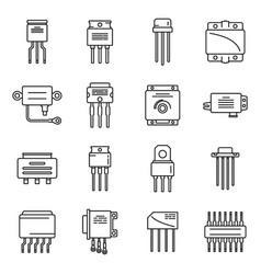 Voltage regulator icons set outline vector