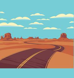 Western desert landscape with empty winding road vector