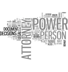 What is power attorney text word cloud concept vector