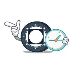 With clock byteball bytes coin character cartoon vector
