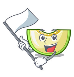 with flag cartoon sliced fresh melon green sweet vector image