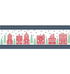 Xmas pattern with winter wonderland town in green vector image