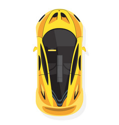 Yellow sport car top view in flat style isolated vector